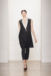 I'm in love with these Black wool hopsack tuxedo pant and the Lysa pump in black leather with white snake heel.